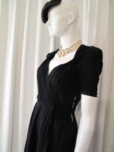 1940's Black crepe georgette crossover vintage dress. Kitty Copeland. **SOLD** es